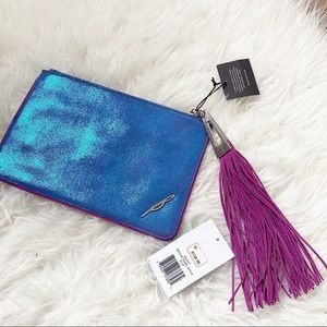 NWT🧜♀ Brian Atwood Mermaid Tassel Leather Clutch